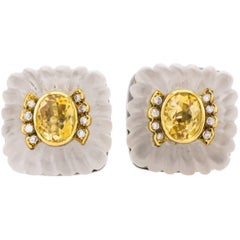 Crystal Citrine Clip-On Earrings