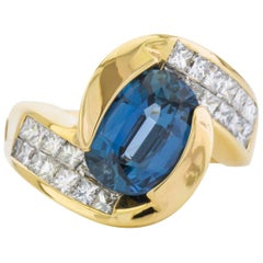 Sapphire, Gold and Diamond Dinner Ring
