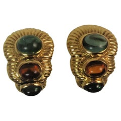 Cabochon Green Tourmaline Citrine Yellow Gold Ear Clips