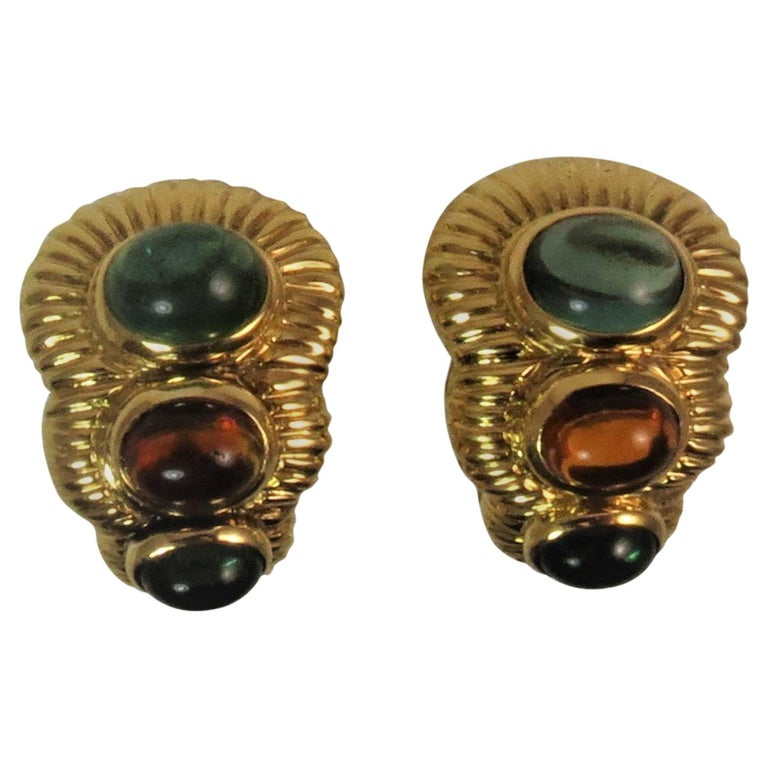 Cabochon Green Tourmaline Citrine Yellow Gold Ear Clips
