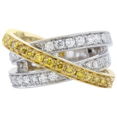 White and Yellow Gold Ring with White and Yellow Diamonds