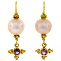 Crevoshay Handcrafted Pearl Amethyst Gold Earrings