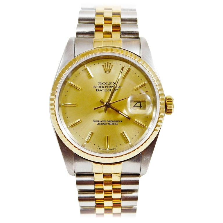 Rolex yellow gold Stainless Steel Oyster Perpetual Datejust Automatic Wristwatch
