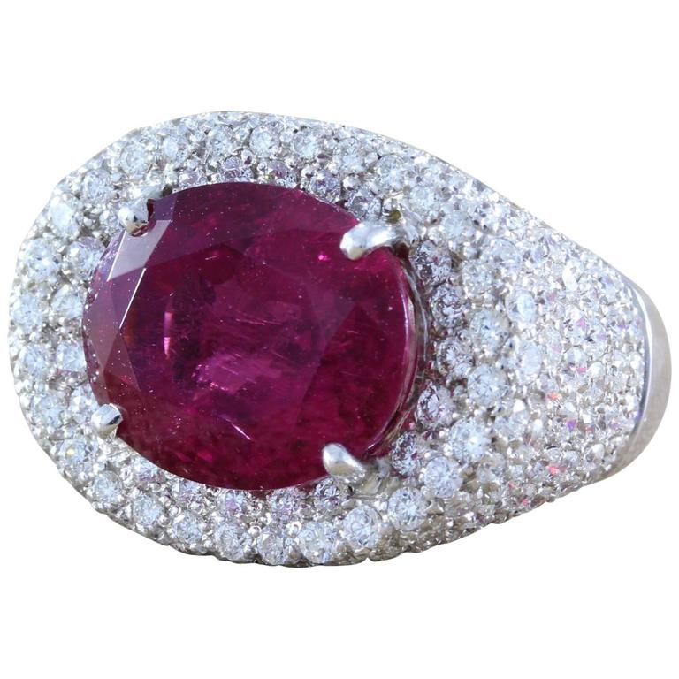 Large Rubellite Tourmaline Diamond Gold Cocktail Ring For Sale