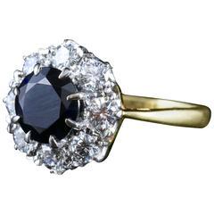Antique Sapphire Diamond Custer Ring Vs1 Diamonds Superb Engagement Ring