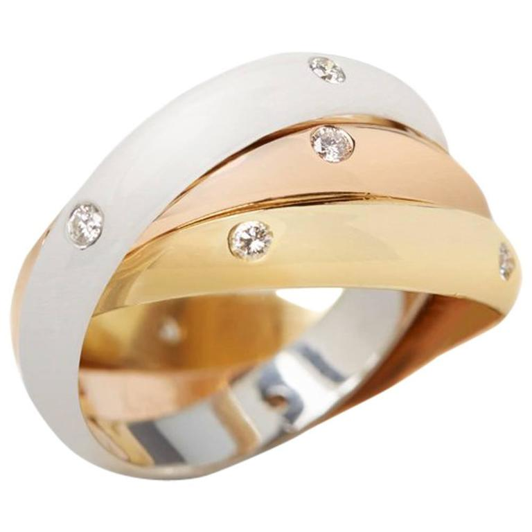 Cartier Diamond Yellow White Rose Gold Trinity Ring 1