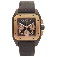 Cartier Santos 100 Extra Large Chronograph Titanium and Rose Gold Gents
