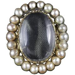 Antique Georgian Large Rock Crystal Pearl Ring in 18 Carat Gold