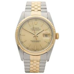 Rolex Datejust Stainless Steel and 18 Karat Yellow Gold Gents 16233, 1991