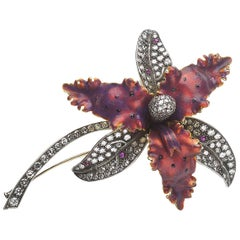 Moira Red Enamel and Diamond Orchid Brooch