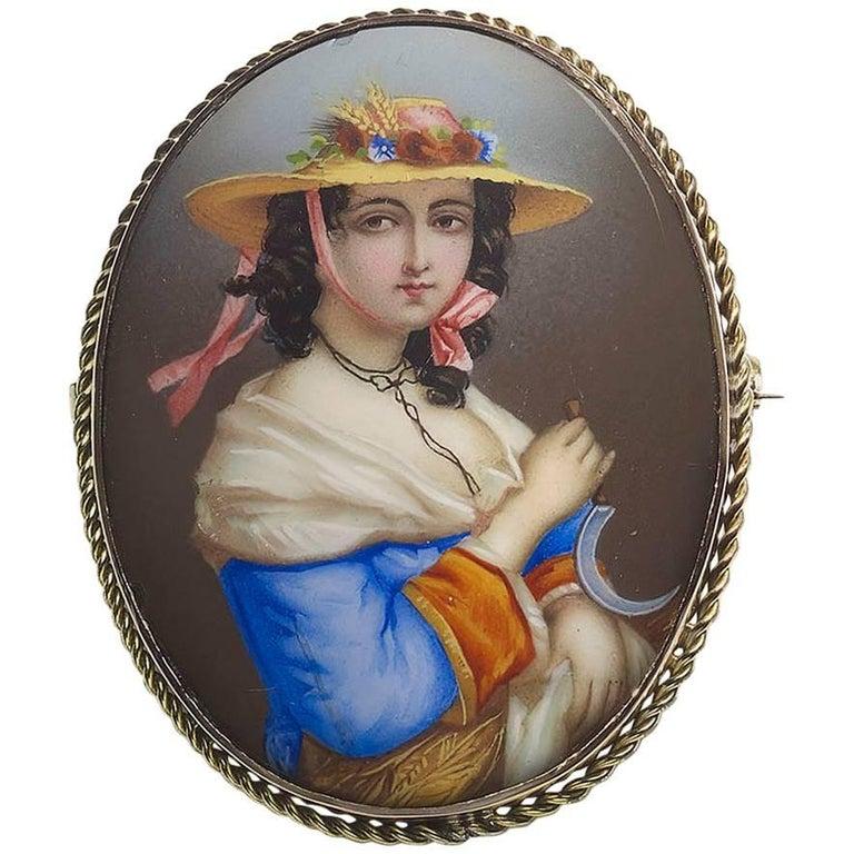 Swiss Enamel Portrait of a Lady Brooch