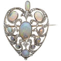 Antique Opal Heart Brooch Pendant
