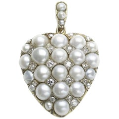 Pearl and Diamond Heart Pendant