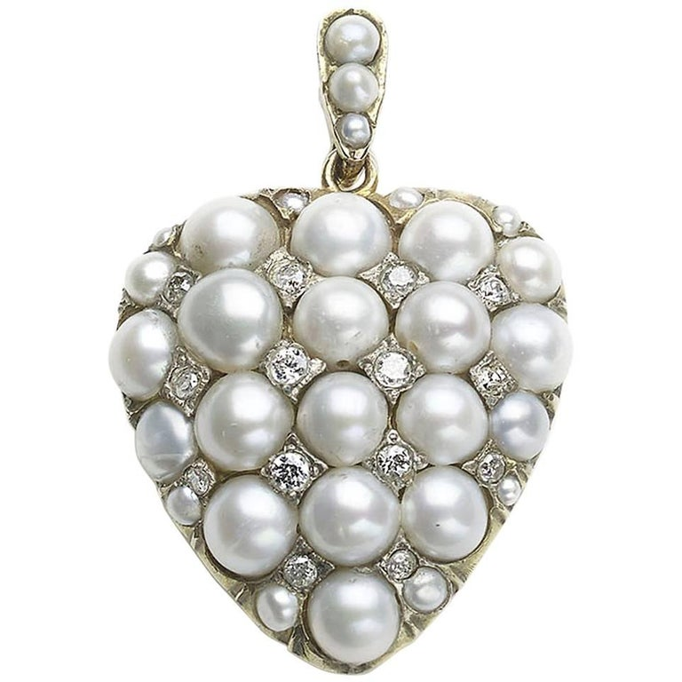 Pearl and Diamond Heart Pendant