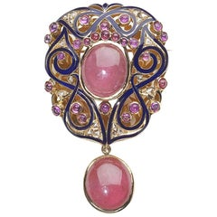 Vintage Tourmaline Ruby and Enamel Brooch
