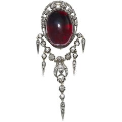 Victorian Garnet and Diamond Brooch