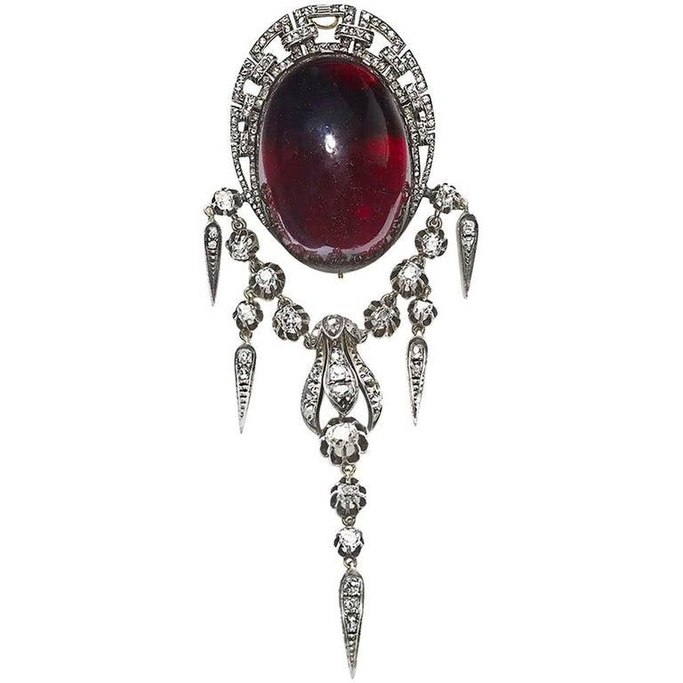 Victorian Garnet and Diamond Brooch