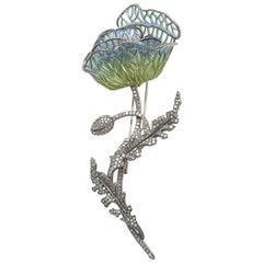 Moira Plique à Jour Enamel Poppy Brooch