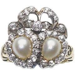 Victorian Pearl and Diamond Double Heart and Bow Ring