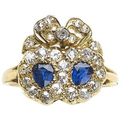 Sapphire and Diamond Double Heart and Cluster Ring