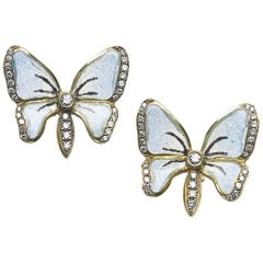 Moira Blue Enamel Butterfly Earrings