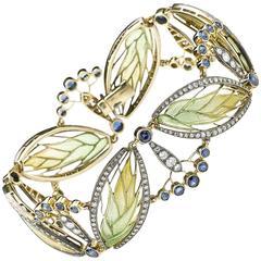 Moira Plique à Jour Enamel Sapphire Diamond Silver Gold Bracelet