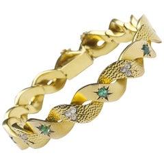 Antique Gold Emerald and Diamond Bracelet
