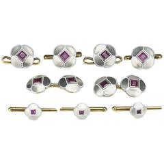 Art Deco Enamel Ruby White Gold Cufflinks Four Buttons and Three Studs Dress Set
