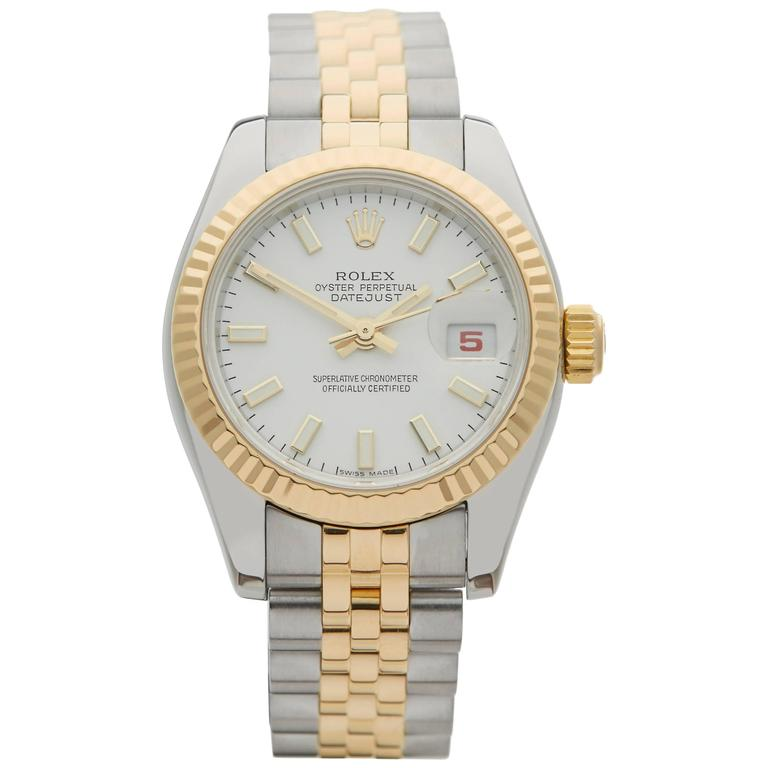 Roles Datejust Stainless Steel and 18 Karat Yellow Gold Ladies 179173, 2004