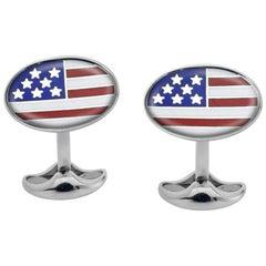 Deakin & Francis Sterling Silver Enamel American Flag Cufflinks
