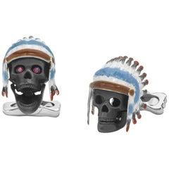 Deakin & Francis Sterling Silver Ruby Enamel American Indian Skull Cufflinks