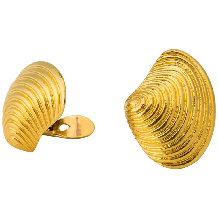 Ilias Lalaounis Dramatic Gold Shell Earrings