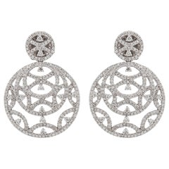 18 Karat Openwork Round Diamond Earrings