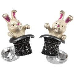 Deakin & Francis Sterling Black Spinel Rabbit in a Hat Cufflinks