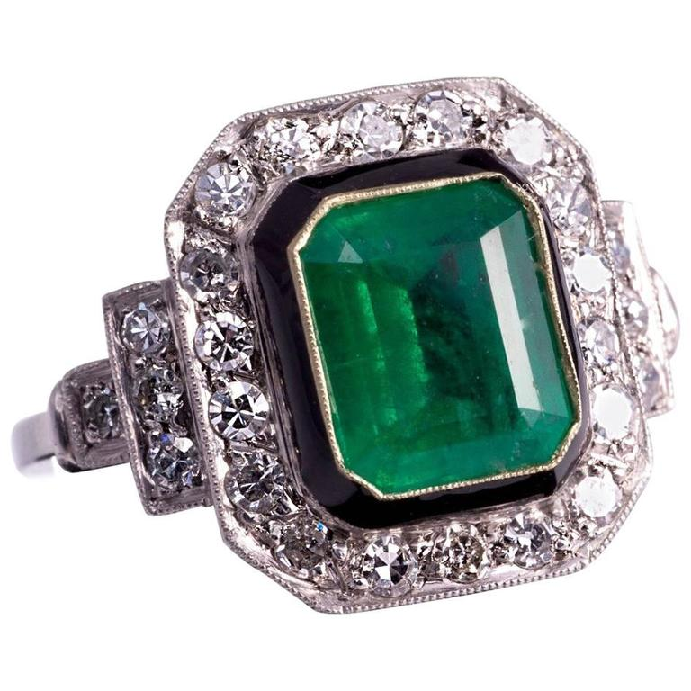 2.50ct Natural Emerald and Diamond Ring For Sale