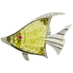 Unique 43.25 Carat Lemon Quartz White Diamond Angelfish Brooch