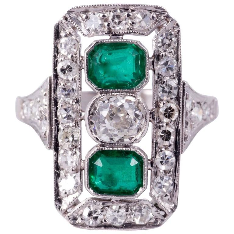 Art Deco Emerald and Diamond Cocktail Ring  For Sale