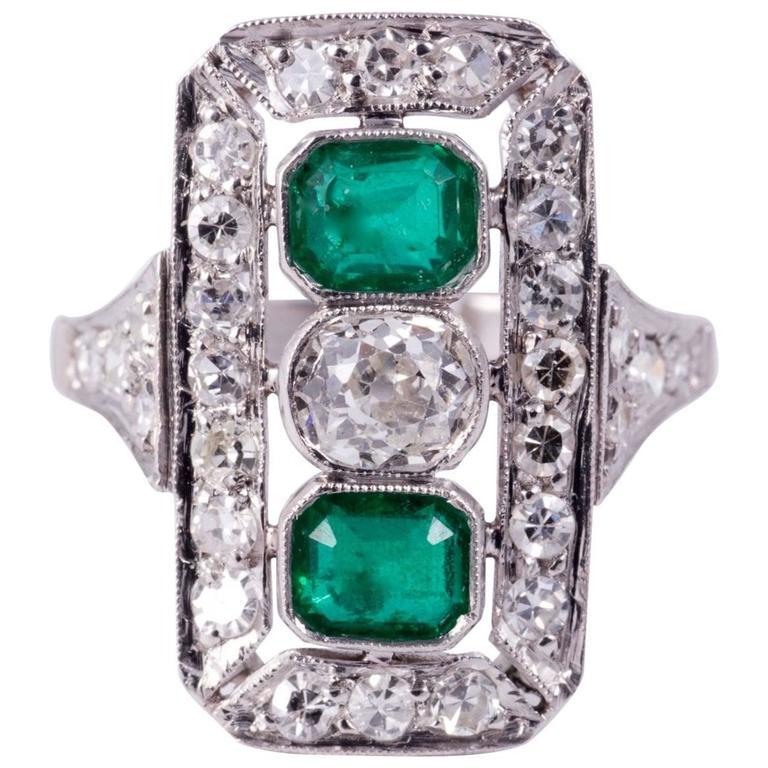Emerald Diamond Cocktail Ring 1