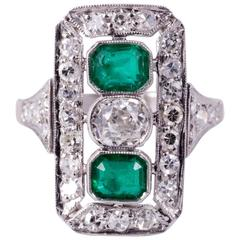 Art Deco Emerald and Diamond Cocktail Ring