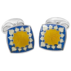 Deakin & Francis Sterling Fancy Blue and Yellow Enamel Cushion Cufflinks