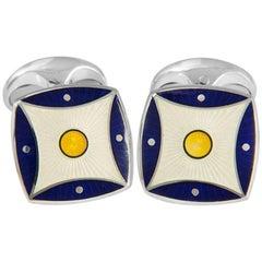 Deakin & Francis Sterling Navy Blue and Yellow Pattern Enamel Cufflinks