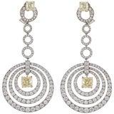 Graff White and Yellow Diamond Dangle Earrings
