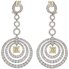 Graff White and Yellow Diamond Dangle Earrings