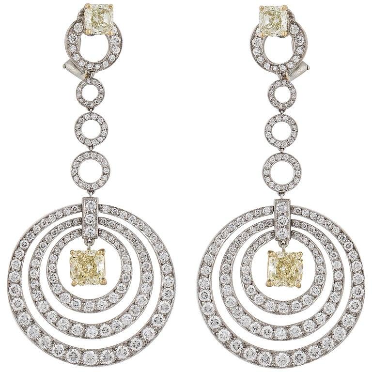 Graff White and Yellow Diamond Earrings