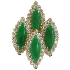 1980s Large Jade Diamond Gold Cocktail Ring