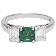Vintage Platinum Emerald and Diamond Trilogy Ring