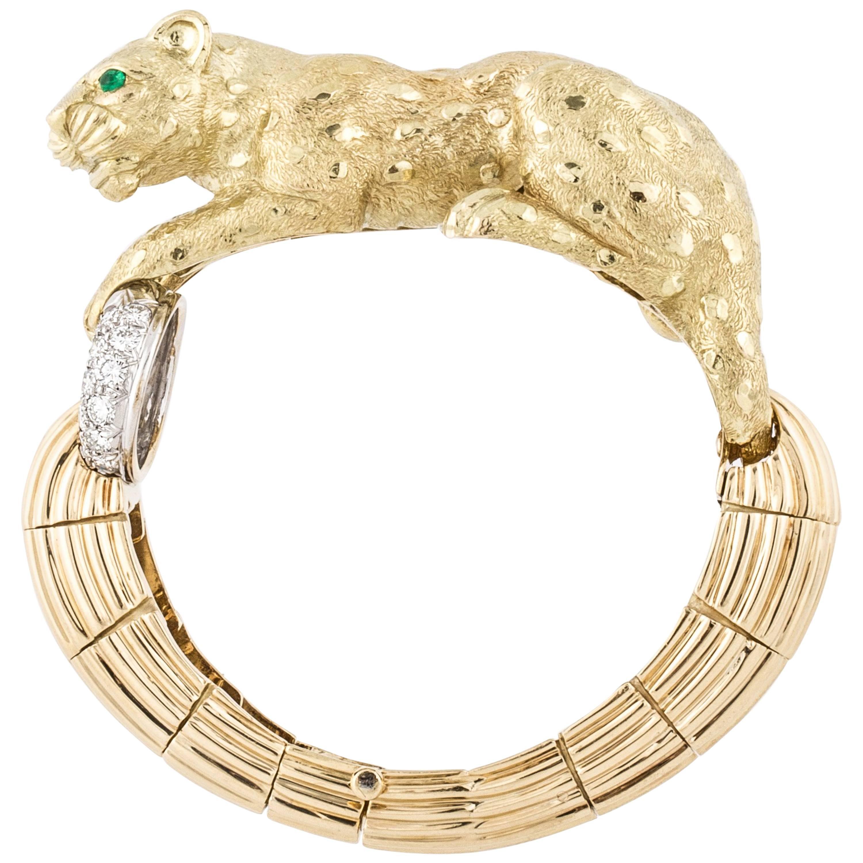 David Webb 18K Gold Leopard Bracelet