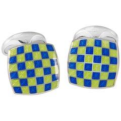 Deakin & Francis Sterling Green Blue Enamel Checkerboard Cufflinks