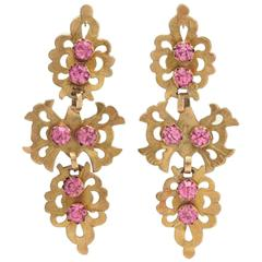 18th Century Iberian Gold and Pink Paste Pendeloque Earrings