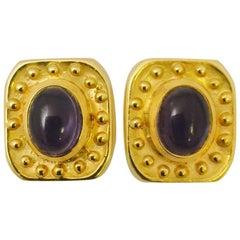 1980s Seidengang Striking Iolite Gold Earrings